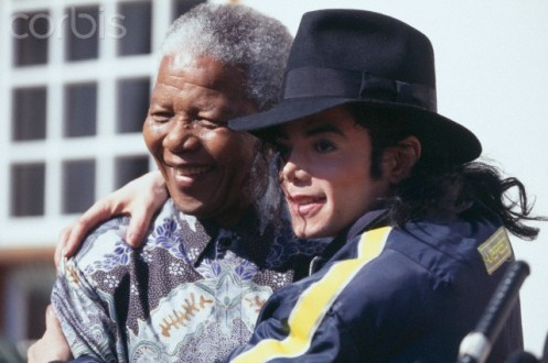 Nelson Mandela with Michael Jackson in South Africa