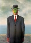 """Ren? Magritte, The Son of Man, 1964, Restored by Shimon D. Yanowitz, 2009  øðä îàâøéè, áðå ùì àãí, 1964, øñèåøöéä ò""""é ùîòåï éðåáéõ,2009"""
