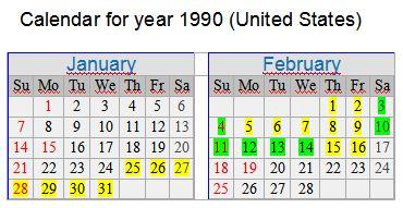 Kalender Jänner Februar 1990