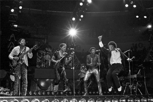 The Jacksons, performing at the Omni Auditorium in 1981